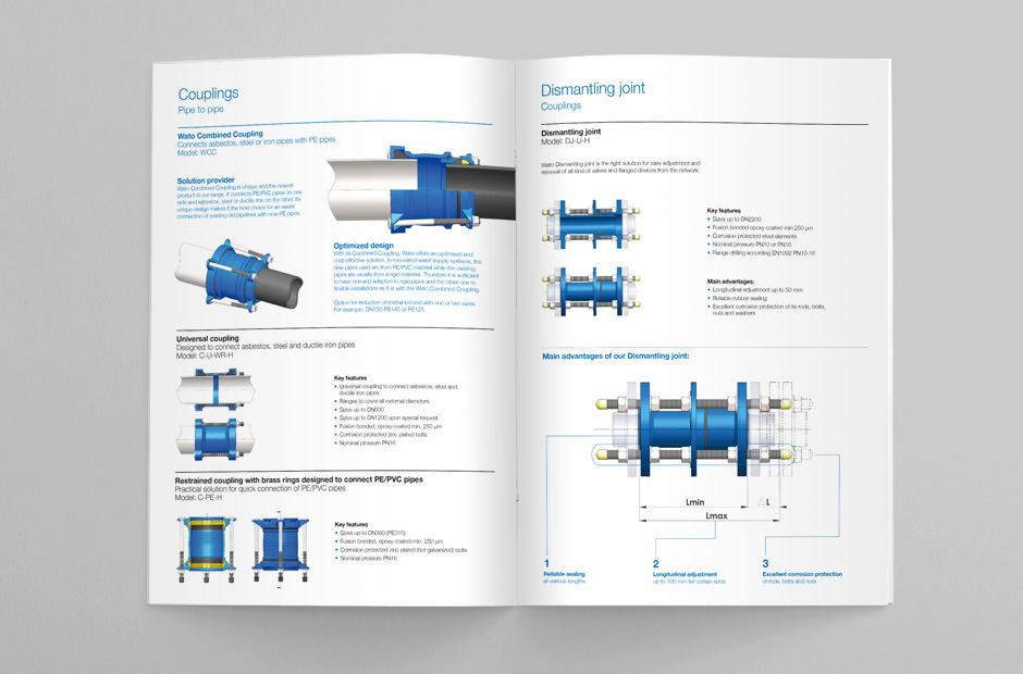 Spread with technical drawings for an engineering catalogue