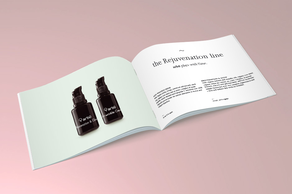 Visual concept for brochure for skincare organic cosmetics