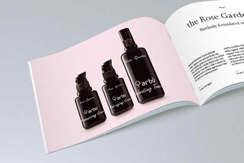 Graphic design and print of catalog for organic skincare cosmetics