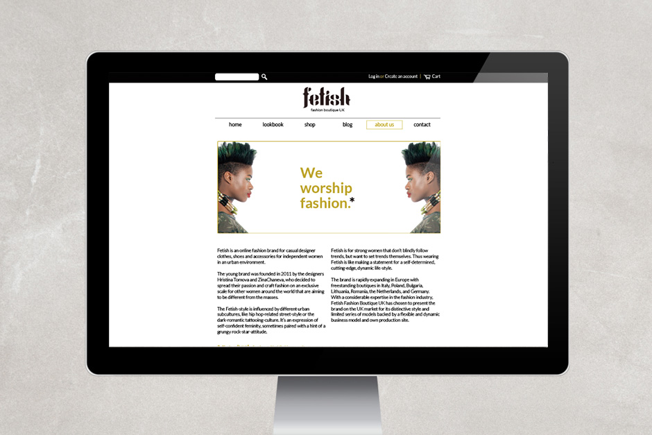 Fetish fashion landing webpage design