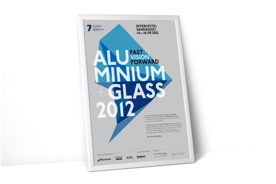 Poster announcing an event for aluminium and glass