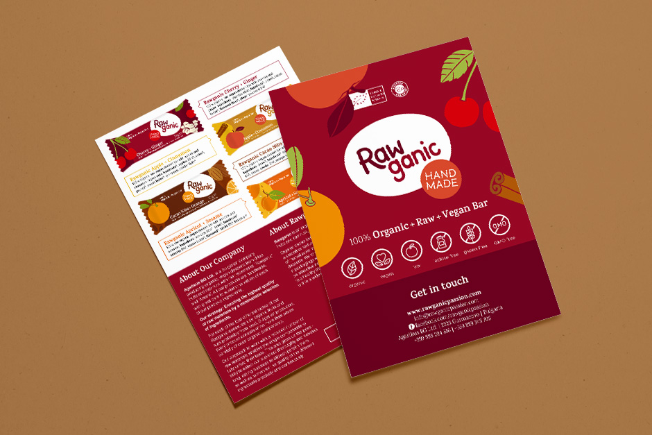 Organic dessert description leaflet