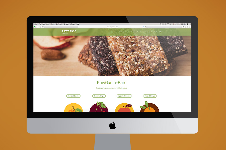 Product page for organic desserts