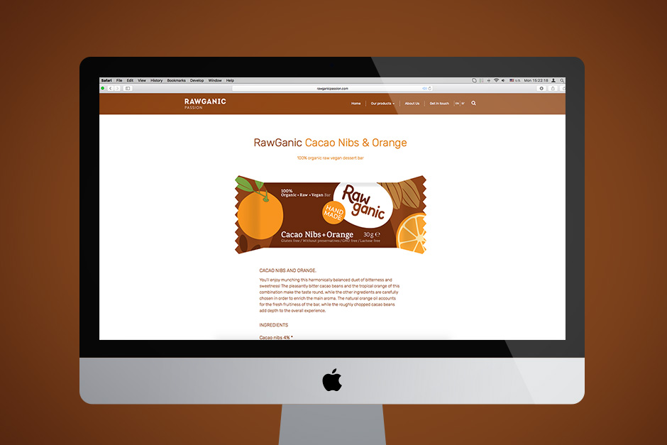 Web page with product info on raw cacao bar