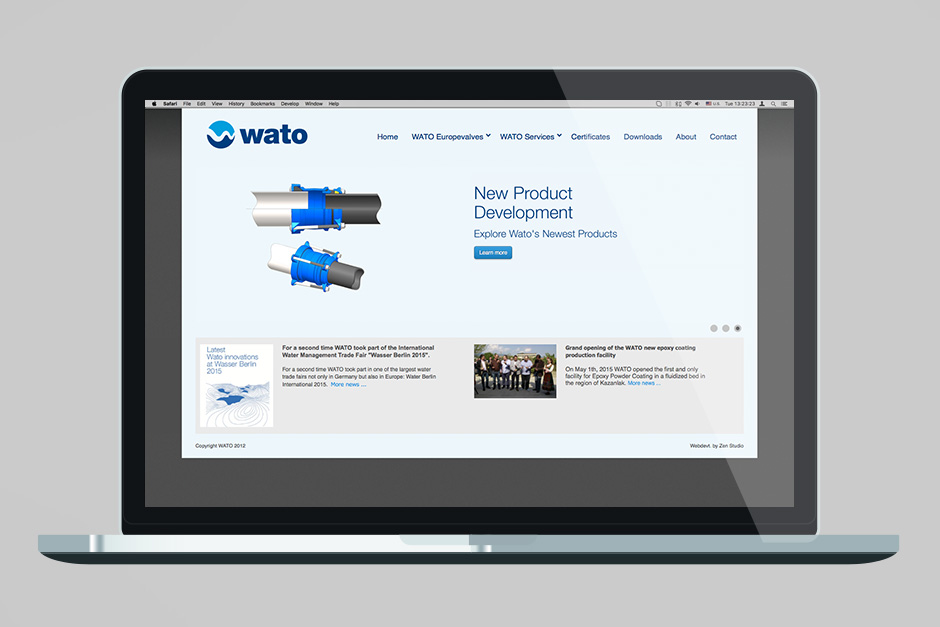 Landing page of an industrial producer