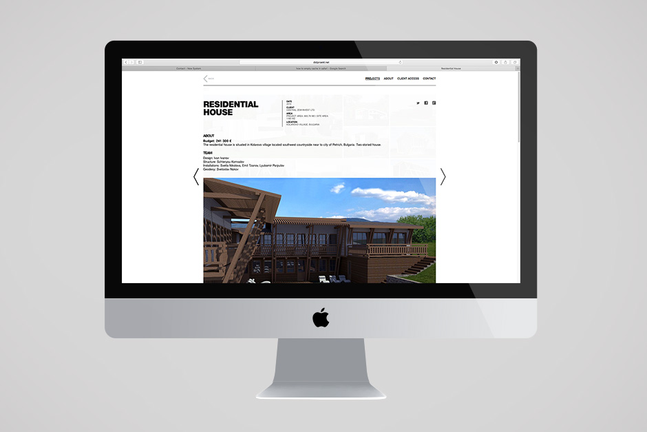 Online portfolio for an architect's firm