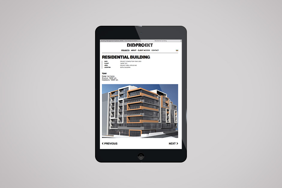 Mobile version of a website for an architect