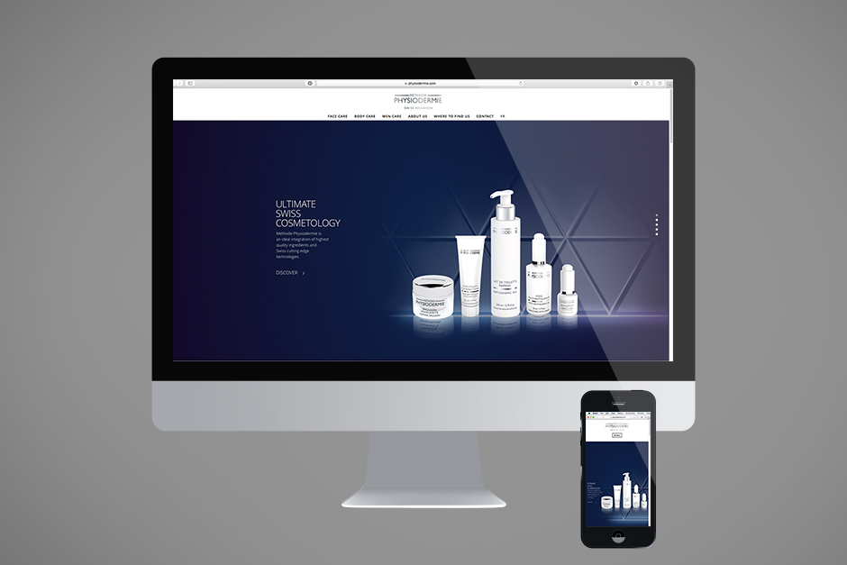Website for a producer of pharmaceutical cosmetics