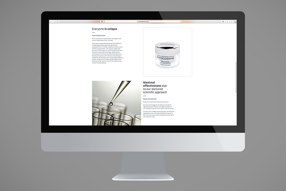 Homepage design for a Swiss cosmetics producer