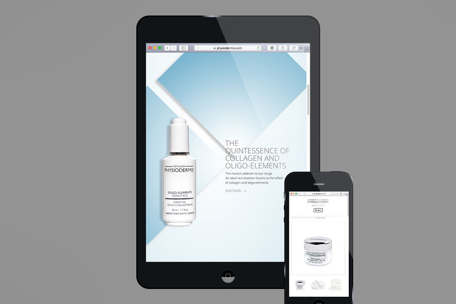 Mobile version of a website design for a manufacturer of care creams