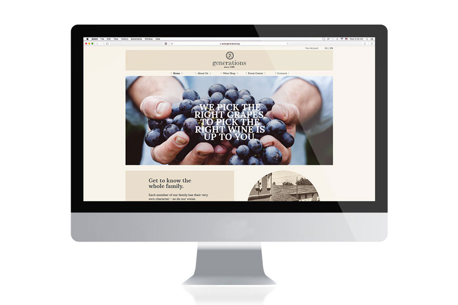 Landingpage for the website of a winemaker