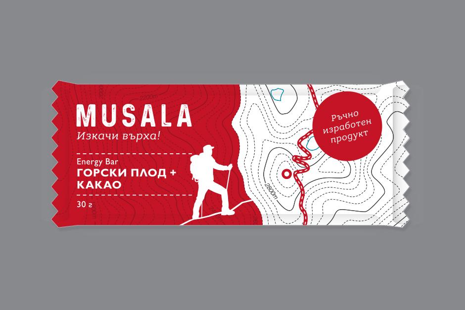 Дизайн и опаковка на енергийни блокчета Мусала, изработен от графичен дизайнер